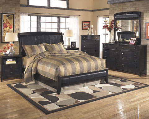 Harmony b208 queen bedroom set by ashley furniture ebay - Black queen bedroom furniture set ...