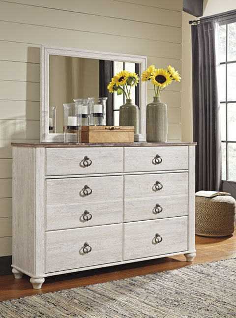 Willowton Dresser and Mirror great value, great price.