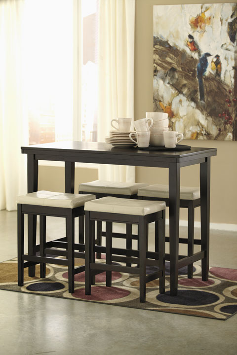 Kimonte Rectangular Counter Table With 4 Barstools great value, great price.