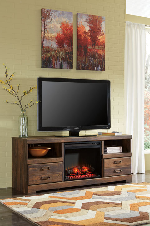 Quinden Large TV Stand with LED Fireplace great value, great price.