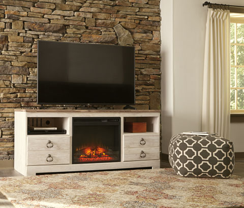 Willowton Large TV Stand with LED Fireplace great value, great price.