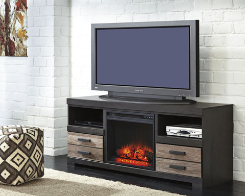 Harlinton Large TV Stand with LED Fireplace great value, great price.